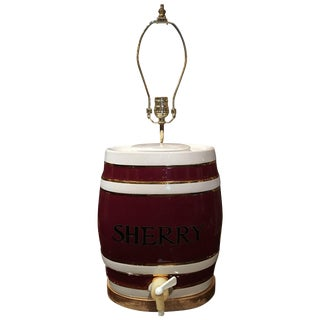 English Royal Victoria Spirit Barrel Adapted as a Lamp, Early 20th Century For Sale