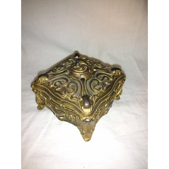 Metal Antique Art Nouveau Jennings Brothers Jewelry Casket For Sale - Image 7 of 7