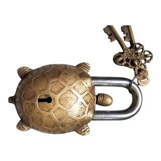 Bronze Turtle Mystery Padlock For Sale