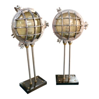 Industrial Boat Light Lamps - a Pair For Sale