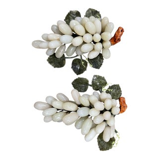 Vintage Large Jade Stone Grapes With Leaves & Branch - a Pair For Sale