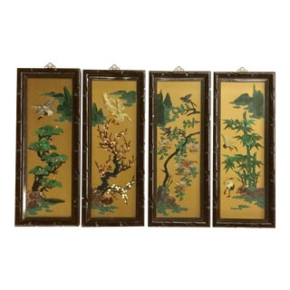 1960s Vintage Chinese Carved Stone Wall Panels - Set of 4 For Sale