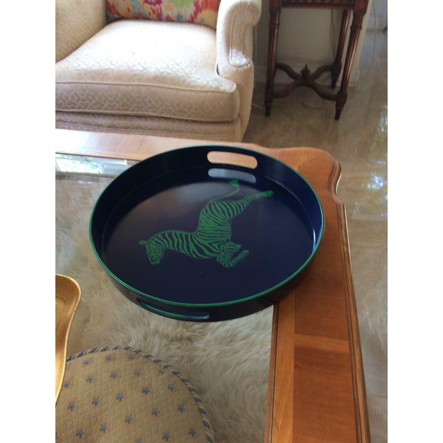 Paint Zebra Scalamandre Inspired Navy and Green Tray For Sale - Image 7 of 11