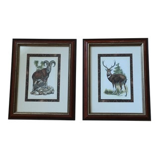 1990s Vintage Chelsea House Style Mountain Animal Framed Prints- A Pair For Sale