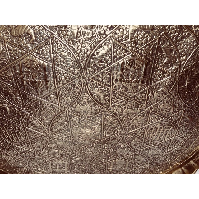 Brass Large Handcrafted Decorative Indo-Persian Hammered Brass Tray For Sale - Image 8 of 13