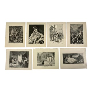 1892 Antique Italian and Spanish Literature Prints - Set of 7 For Sale