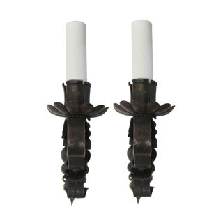 Antique Arts & Crafts Cast Iron Wall Sconces - a Pair For Sale