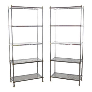 Pair of Vintage Etagere Display Shelves in Chrome and Brass, Manner of Maison Jansen For Sale