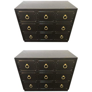 Hollywood Regency Pair of Ebony Refinished Dorothy Draper Style Chests/Commodes For Sale
