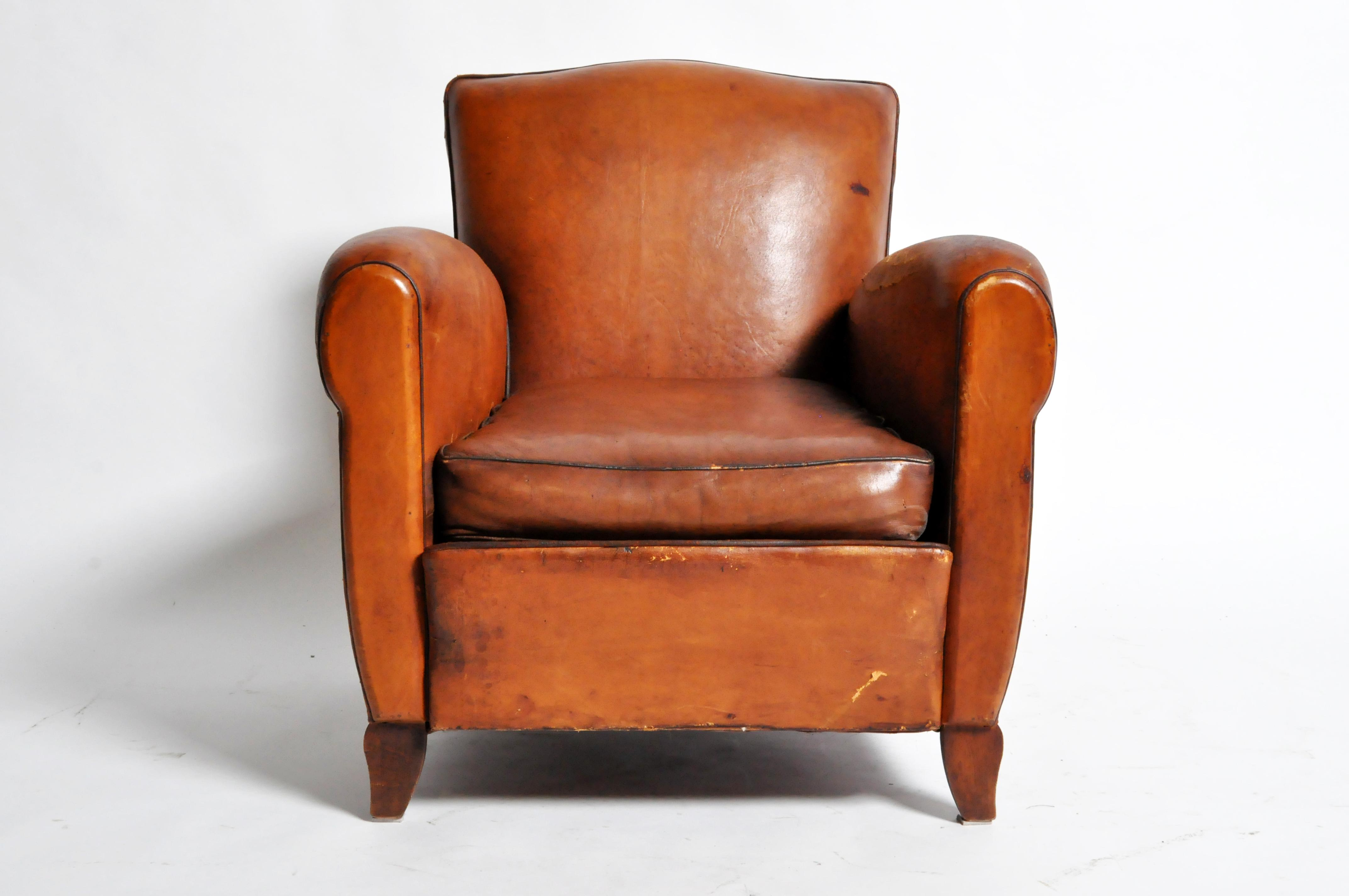French Art Deco Leather Club Chair With Piping And Original Patina   Image  11 Of 11