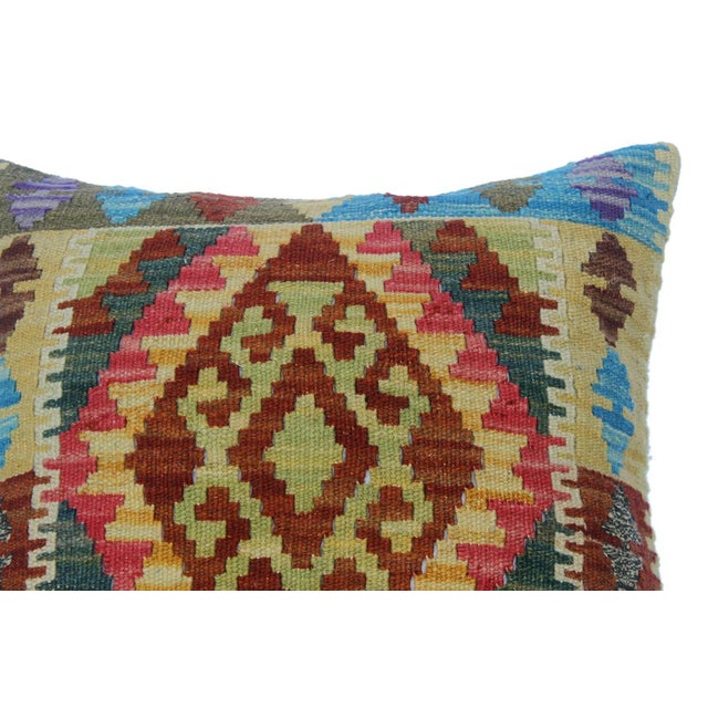 "Chery Gold/Lt. Blue Hand-Woven Kilim Throw Pillow(18""x18"") For Sale - Image 4 of 6"