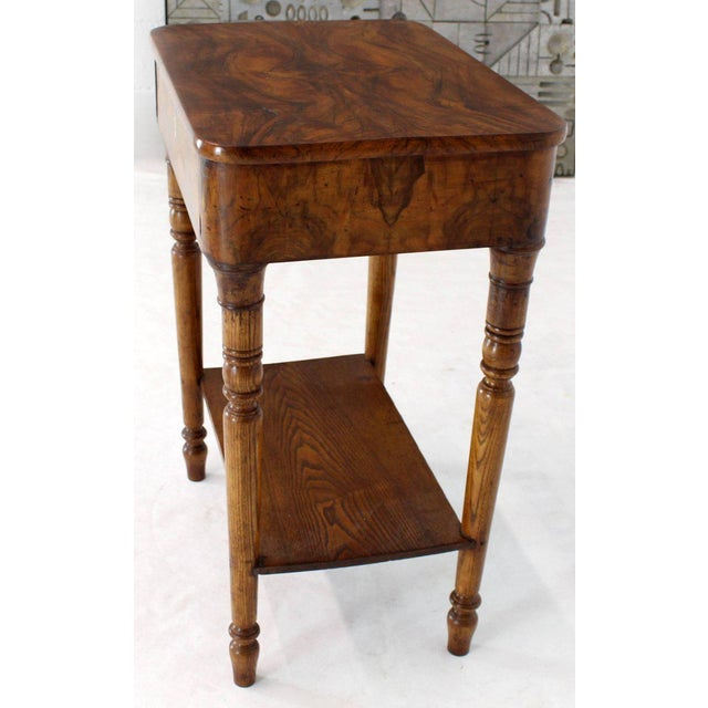 19th Century Biedermeier Burl Walnut One Drawer Sewing Stand Table For Sale - Image 10 of 13