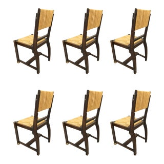 Victor Courtray Set of 6 Brutalist Oak and Rush Dinning Chairs For Sale
