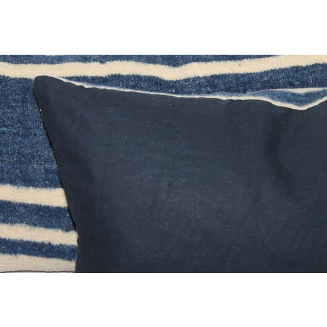 Set of Four Indigo and White Striped Alpaca Bolster Pillows For Sale In Los Angeles - Image 6 of 6