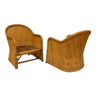 Split Reed Rattan Club Chairs in the Manner of Gabriella Crespi For Sale