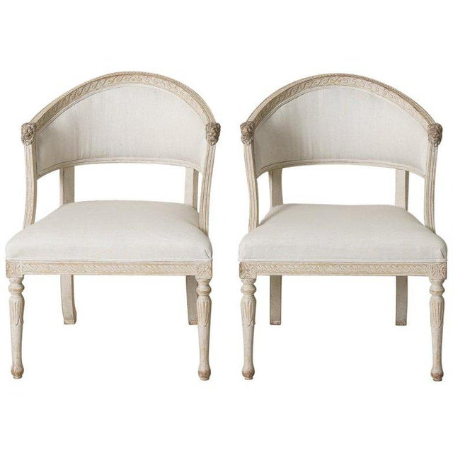 Swedish Gustavian Barrel Back Armchairs With Lions' Heads - a Pair For Sale - Image 11 of 11