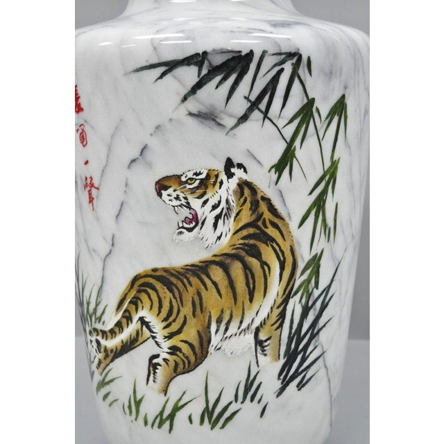 Carved & Painted Tiger Oriental Scene White Marble Vase Vessel For Sale - Image 4 of 13