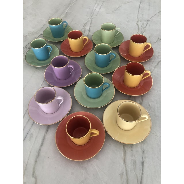Traditional Multi-Colored Apilco Demitasse / Espresso Cups by Yves Deshoulieres, Made in France - Set of 12, 24 Pieces For Sale - Image 3 of 10