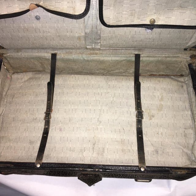 Black Vintage Carson Quality Seal Skin Suitcase For Sale - Image 8 of 11
