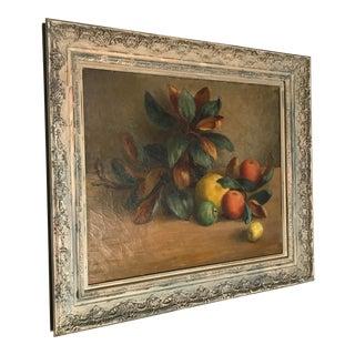 1945 Vintage Josefa Backus Still Life Fruit and Magnolia Leaves Oil on Canvas Painting For Sale