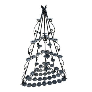 Antique Gothic Wrought Iron Church Votive Candle Holder Corner For Sale
