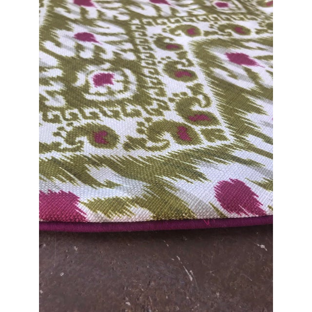 Traditional Green and Purple Ikat Tree Skirt For Sale - Image 3 of 5