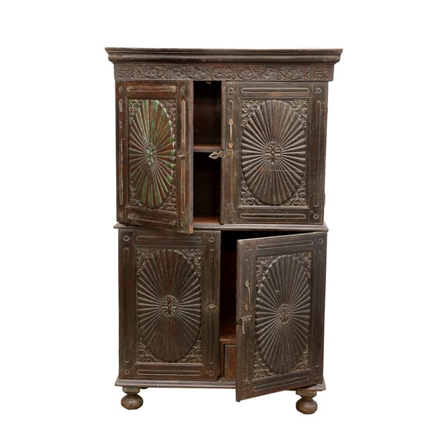 Antique Indo Portuguese Sunburst Armoire Cabinet - Image 5 of 7