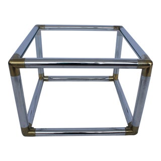 Mastercraft Brass, Chrome & Glass Side Table