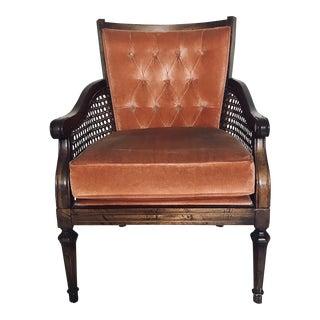Vintage Cane & Velvet Chair