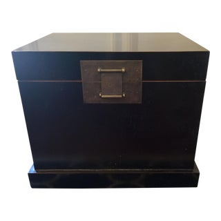 Chinoiserie Style Black Storage Chest For Sale