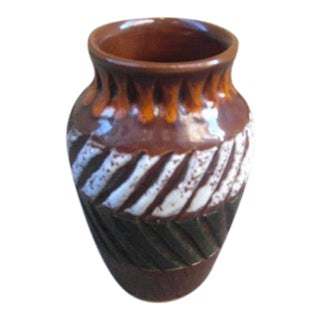 Vintage Italian Chevron Etched Ceramic Vase For Sale