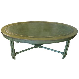 Mid Century Faux Bamboo and Leather Oval Coffee Cocktail Table For Sale