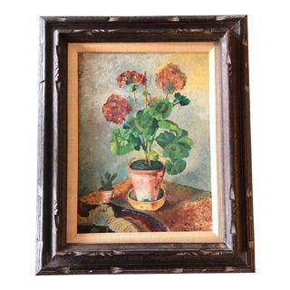 Original Vintage Mid Century Geranium Still Life Painting For Sale