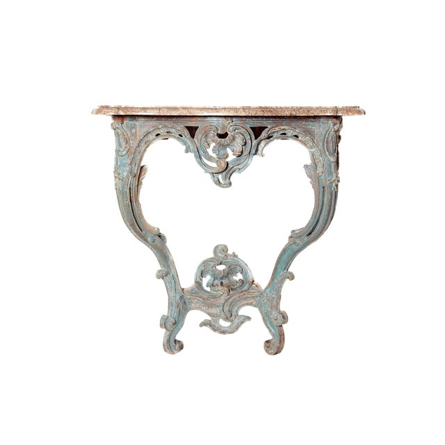Period Painted Louis XV Console With Shaped Marble Top For Sale