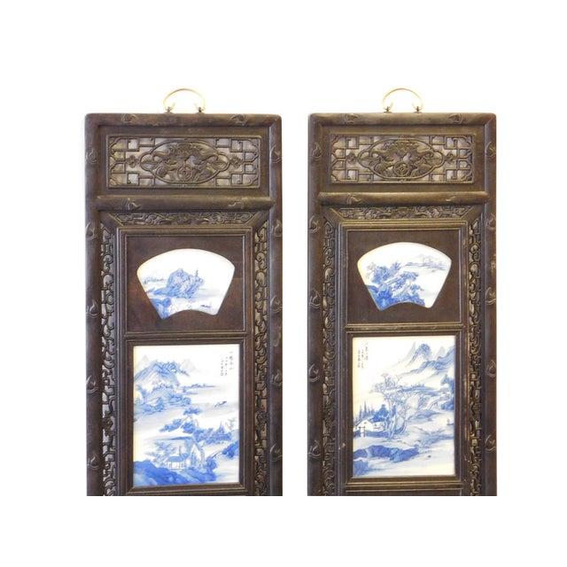 Blue/White Porcelain Wood Framed Wall Art - Set/4 - Image 6 of 9