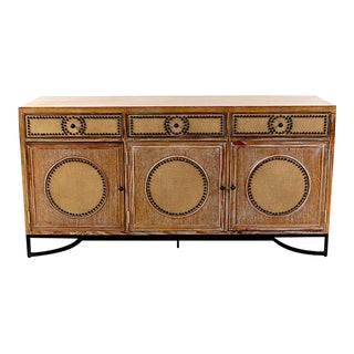 Modern Limed Oak, Burlap, & Tacked Trim Sideboard For Sale