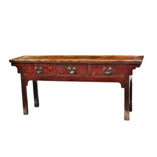 19th Century Chinese Console Table, 3-Drawer For Sale