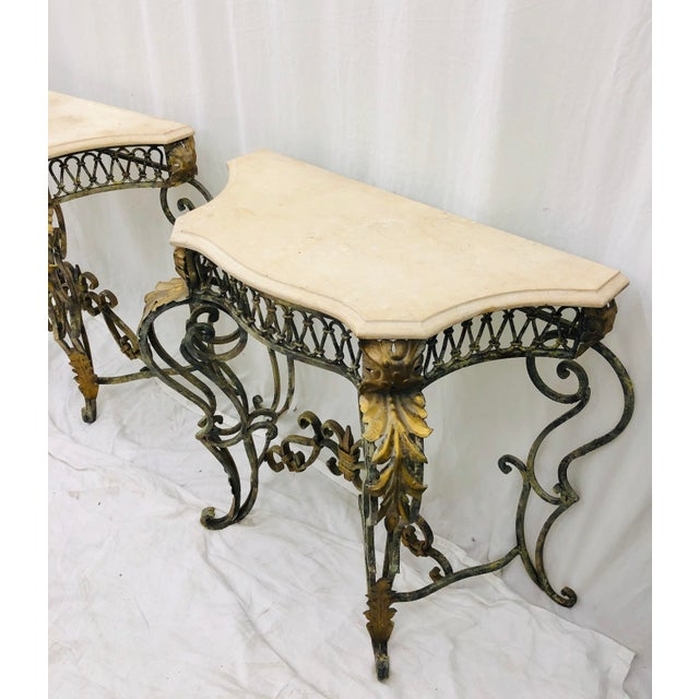 Pair Vintage Wrought Iron & Stone Side Tables For Sale - Image 9 of 11