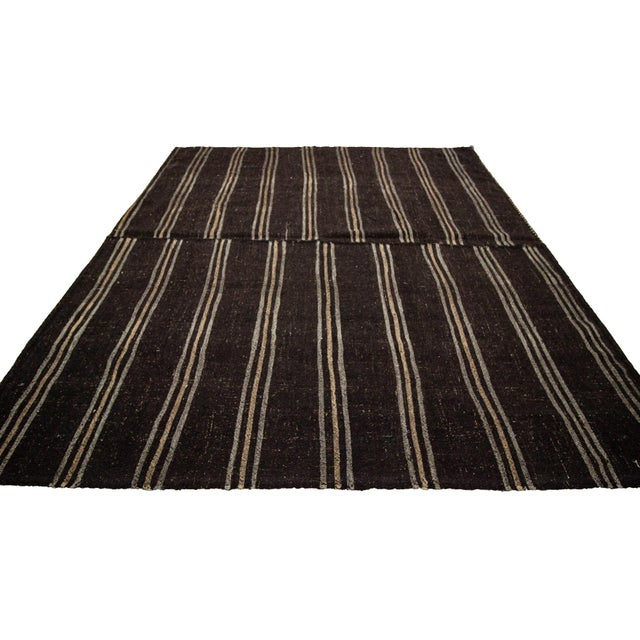 Contemporary 1960s Vintage Dark Brown Striped Kilim Rug- 9′ × 9′3″ For Sale - Image 3 of 7