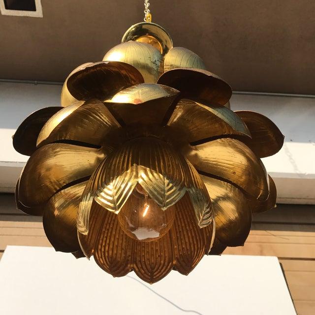 Feldman Brass Lotus Chandelier Lamp - Image 8 of 9
