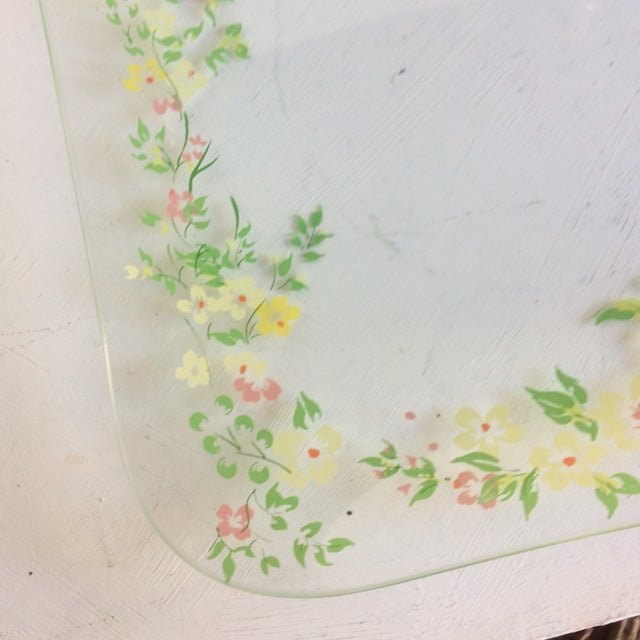 Glass Dorothy Thorpe California Wild Flower Square Serving Platter For Sale - Image 9 of 13