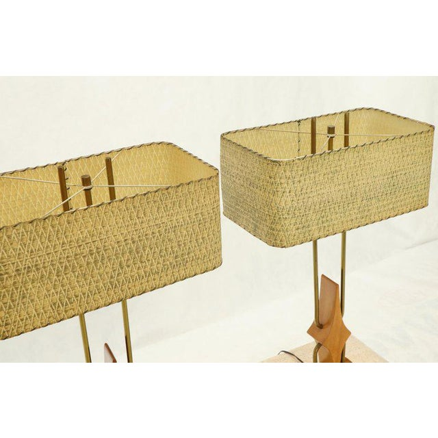 1960s Pair of Walnut and Brass Diamond Pattern Table Lamps For Sale - Image 5 of 13