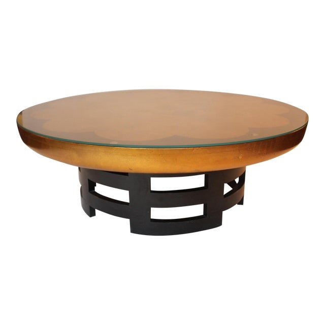 1950s Mid-Century Modern James Mont-Style Gilded Cocktail Table For Sale