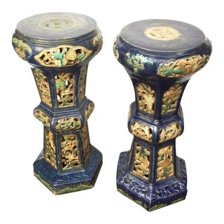 Antique Chinese Enameled Ceramic Pedestals - A Pair