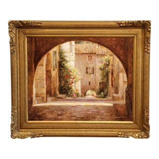 """Framed Giclee on Canvas Painting """"La Cour Du Village"""" Signed Leonard Wren 2001 For Sale"""