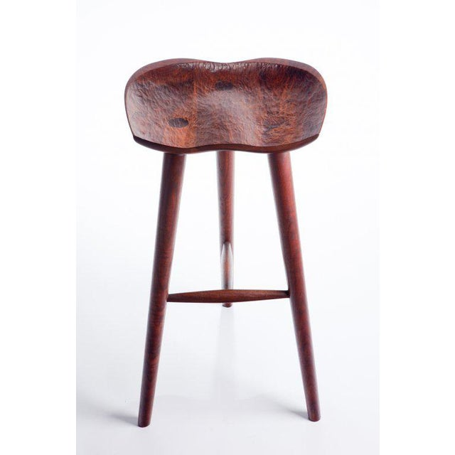 Hand Crafted Stool in Walnut For Sale - Image 4 of 9