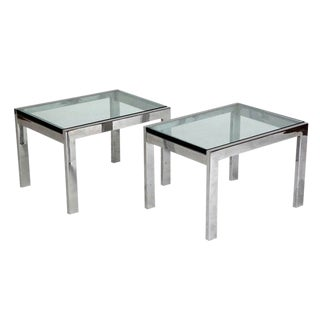 Modernist Chrome and Thick Glass Side Tables - a Pair For Sale
