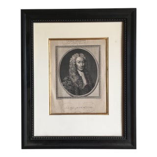 Late 18th Century Portrait Engraving, Framed For Sale