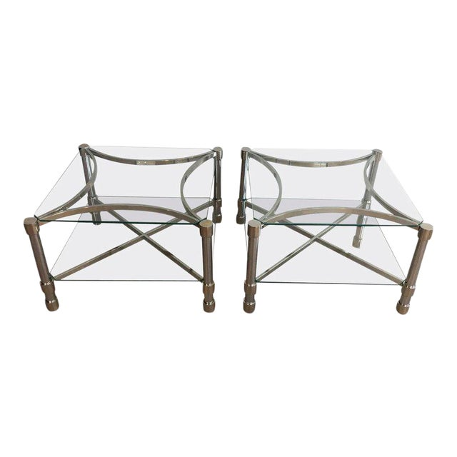 Pair of Double-tiered Chrome Side Tables For Sale