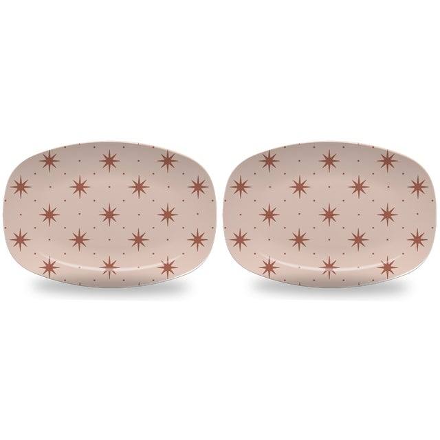Chairish x The Muddy Dog Stars Outdoor Platters, Blush, Set of 2 For Sale - Image 4 of 4